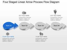 At Four Staged Linear Arrow Process Flow Diagram Powerpoint Template