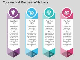 at Four Vertical Banners With Icons Flat Powerpoint Design