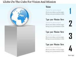 At Globe On The Cube For Vision And Mission Powerpoint Template