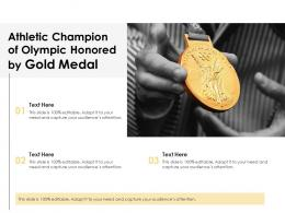 Athletic Champion Of Olympic Honored By Gold Medal