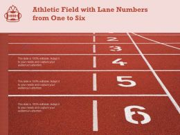 Athletic Field With Lane Numbers From One To Six