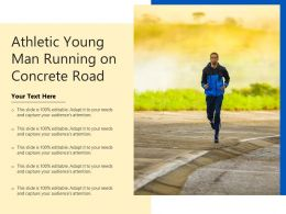 Athletic Young Man Running On Concrete Road