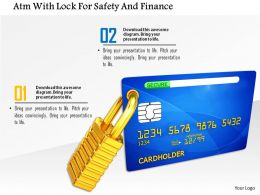 Atm With Lock For Safety And Finance Image Graphics For Powerpoint