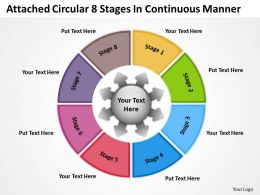 attached circular 8 stages in continuous manner Arrows Network Software PowerPoint templates