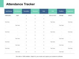 Attendance Tracker Table Ppt Powerpoint Presentation Pictures Backgrounds