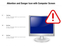 Attention And Danger Icon With Computer Screen