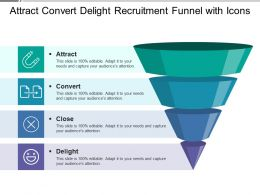 Attract Convert Delight Recruitment Funnel With Icons