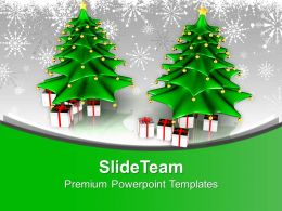 Attractive Christmas Trees With Gifts Winter Holidays PowerPoint Templates PPT Themes And Graphics