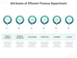 Attributes Of Efficient Finance Department