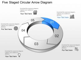Au Five Staged Circular Arrow Diagram Powerpoint Template Slide