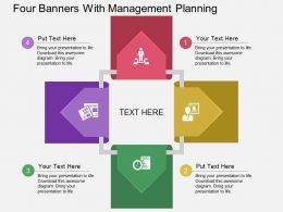 au Four Banners With Management Planning Flat Powerpoint Design