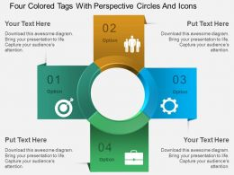 Au Four Colored Tags With Perspective Circles And Icons Powerpoint Template
