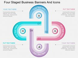 au Four Staged Business Banners And Icons Flat Powerpoint Design