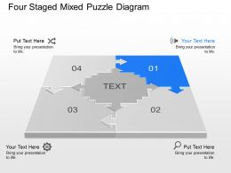 Au Four Staged Mixed Puzzle Diagram Powerpoint Template