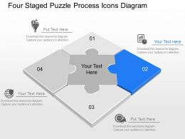 au Four Staged Puzzle Process Icons Diagram Powerpoint Template