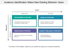 Audience Identification Matrix New Existing Behavior Users