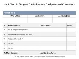 Audit Checklist Template Consist Purchase Checkpoints And Observations