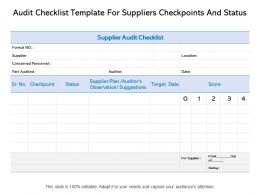 Audit Checklist Template For Suppliers Checkpoints And Status