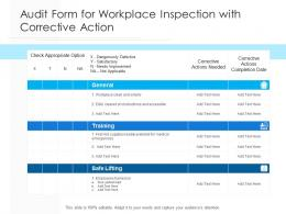 Audit Form For Workplace Inspection With Corrective Action