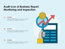 Audit Icon Of Business Report Monitoring And Inspection