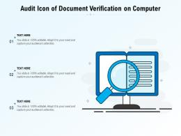 Audit Icon Of Document Verification On Computer