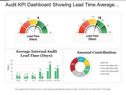 Audit Kpi Dashboard Showing Lead Time Average Entry Variance And Amount Contribution