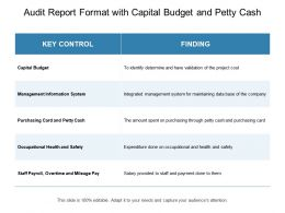 Audit Report Format With Capital Budget And Petty Cash