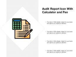 Audit Report Icon With Calculator And Pen