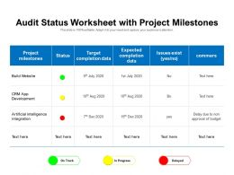 Audit Status Worksheet With Project Milestones