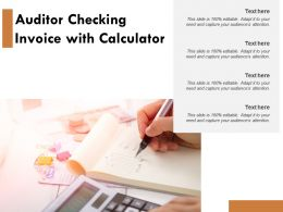 Auditor Checking Invoice With Calculator