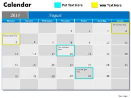 August 2013 Calendar PowerPoint Slides PPT templates