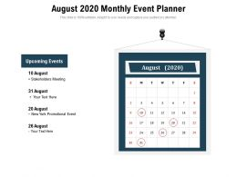August 2020 Monthly Event Planner