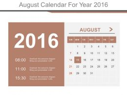 August Calendar For Year 2016 Powerpoint Slides
