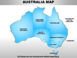 Australia Continents PowerPoint Maps with ACT Territory