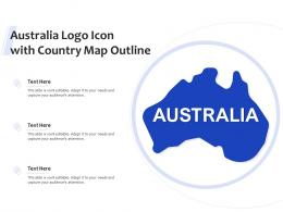 Australia Logo Icon With Country Map Outline