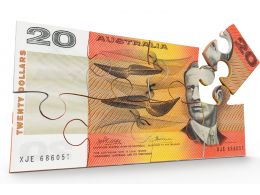 Australian 20 Dollar Note In Puzzle Form Stock Photo
