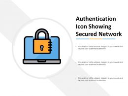 Authentication Icon Showing Secured Network