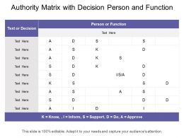 Authority Matrix With Decision Person And Function