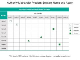 Authority Matrix With Problem Solution Name And Action