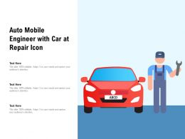 Auto Mobile Engineer With Car At Repair Icon