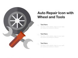 Auto Repair Icon With Wheel And Tools