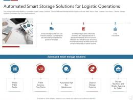 Automated Smart Storage Solutions Logistics Technologies Good Value Propositions Company Ppt Tips