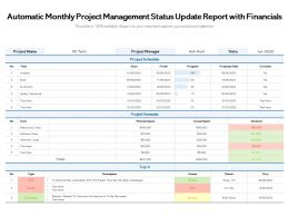 Automatic Monthly Project Management Status Update Report With Financials