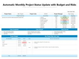 Automatic Monthly Project Status Update With Budget And Risks