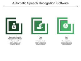 Automatic Speech Recognition Software Ppt Powerpoint Presentation Pictures Visual Aids Cpb