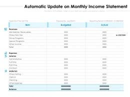 Automatic Update On Monthly Income Statement