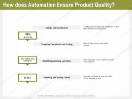 Automation Benefits How Does Automation Ensure Product Quality Ppt Powerpoint Presentation File Topics