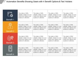 Automation Benefits Showing Gears With 4 Benefit Options And Text Holders