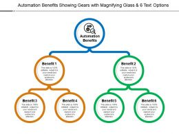 Automation Benefits Showing Gears With Magnifying Glass And 6 Text Options