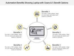 Automation Benefits Showing Laptop With Gears And 5 Benefit Options